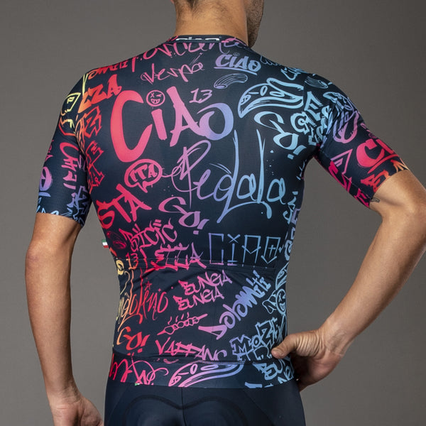 Graffiti Unisex Cycling Jersey Blue Rainbow