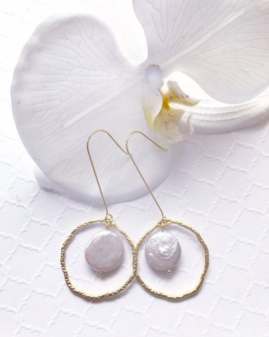Boho chic pearl drop earrings