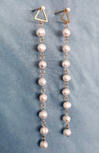 Load image into Gallery viewer, Long Pearl Drop Earrings