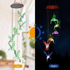 Color-Changing Solar LED Waterproof Hummingbird Wind Chimes!