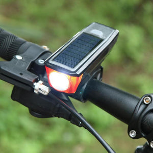 3 IN 1! 2019 USB Rechargeable Solar Power Waterproof Headlight  with Bicycle Horn
