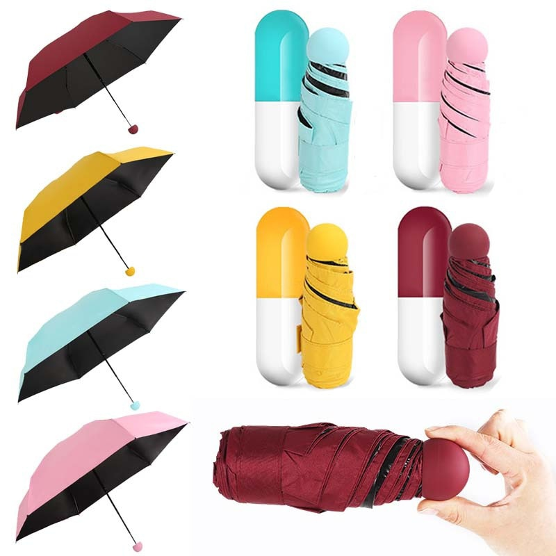 Fancytime Mini Capsule Umbrella Anti-UV Protection Umbrellas Windproof Folding Umbrellas Rain Pocket Umbrella for Women&Children
