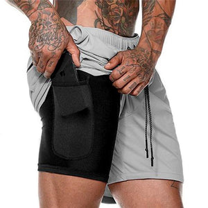 Mens 2 in 1 Sports Shorts Male Quick Drying with Built-in pocket Liner