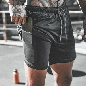 Men/'s 2 in 1 Running Sports Shorts Stretchy with Built-in Pocket Liner Shorts