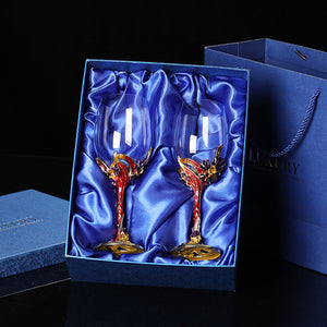 High-quality Enamel irises crystal glass red wine glass