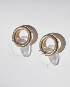 Double Link Brass Earrings