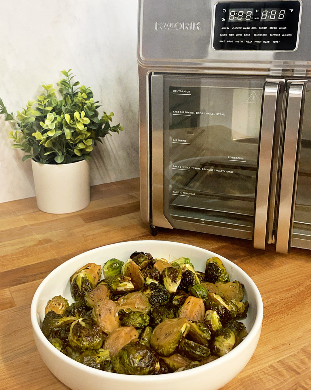 Balsamic Glazed Brussels Sprouts in the Kalorik MAXX Air Fryer Oven