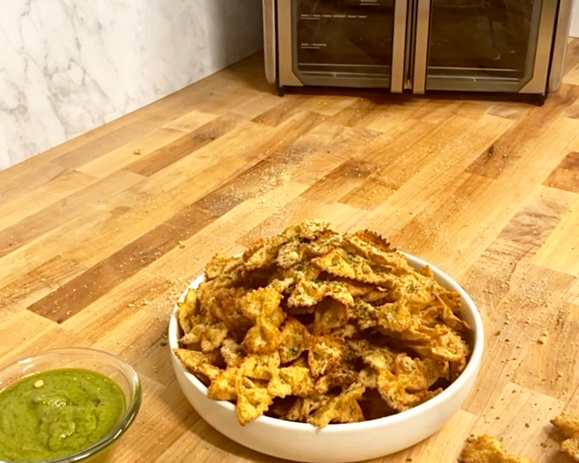 Air Fried Pasta Chips in the Kalorik MAXX Air Fryer Oven