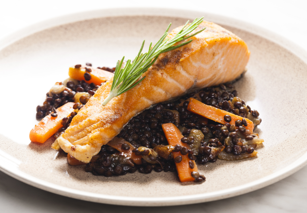 Salmon with Lentils