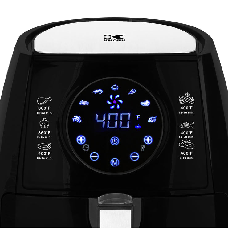 Kalorik 3.2 Quart Digital Air Fryer with Egg Poacher, Black