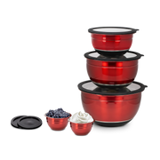Kalorik 10-Piece Mixing Bowl Set, Red
