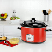 Kalorik 8 Quart Digital Slow Cooker with Locking Lid, Red