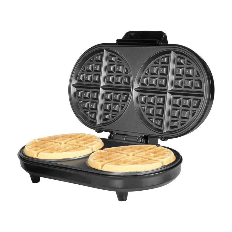 Kalorik Double Belgian Waffle Maker, Black and Stainless Steel