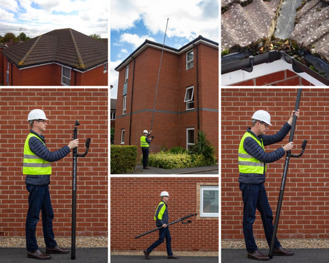 Three storey roof survey equipment from Vantage Point Products
