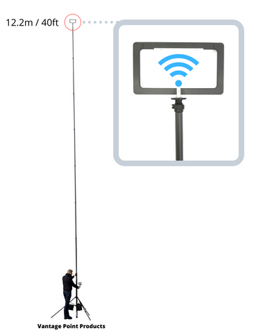WiFi Mast 40ft 12m for Warehouse Factory APoS survey by Vantage Point Products