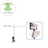 Rigid and stable 5 meter 12ft Wi-Fi wireless site survey mast for office ceilings, reception areas, schools and colleges, made by Vantage Point Products in the UK