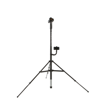 Vantage Point Products' 6m 20ft two storey mast retracted in an aluminium tripod with smartphone mount