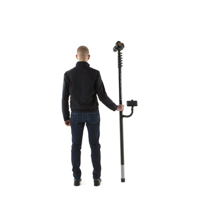 Carbon fibre monopod for property and sports photography and video with smartphone mount and wireless camera