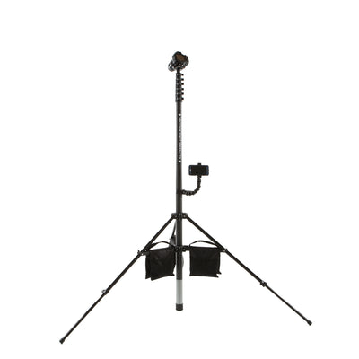 30ft 9m 10m three storey carbon fibre property photography mast pole retracted and fitted into a tripod with leg weight sandbags