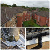 Close up photo example of roof inspection survey using camera mast pole supplied by UK leaders, Vantage Point Products