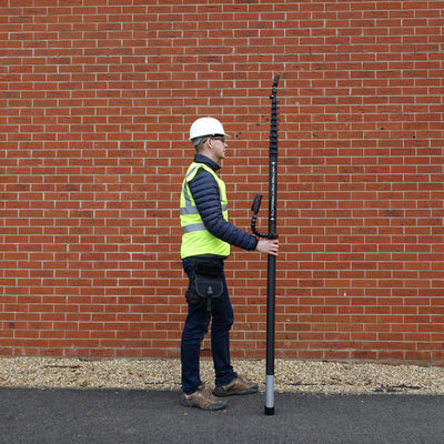 Retracted 52ft 15m five storey carbon fibre inspection and survey camera pole system, fits in most vehicles for easy transport, supplied by Vantage Point Products