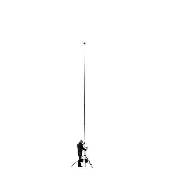 Vantage Point Products 9m 10m 30ft three storey carbon fibre camera mast pole for aerial elevated images and video being shown fully extended