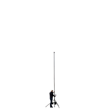 Carbon fibre camera mast pole extending to 20ft 6m two storeys high, stabilised by a tripod