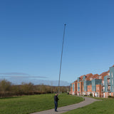 Highly stable and rigid carbon fibre photography mast being used as a monopod to inspect buildings and roofs by Vantage Point Products