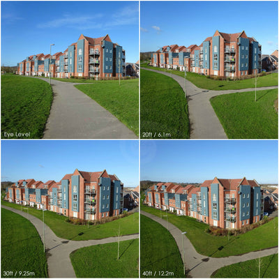 Four images comparing the heights possible at 20ft / 30ft / 40ft or 6m / 9m / 12m by Vantage Point Products