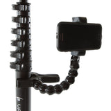 Close up of Vantage Point Products' adjustable phone mount on a camera mast pole