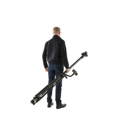 Retracted carbon fibre survey and inspection mast from Vantage Point Products being easily carried and transported with a tripod and smartphone mount securely attached