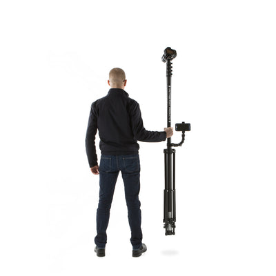 Man holding Vantage Point Products' 40ft 12m four storey lightweight mast weighing 3.5kg and tripod weighing only 2.7kg