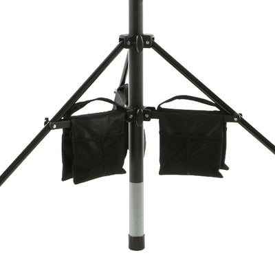 Close up of tripod leg weight bags on Vantage Point Products' 20ft 6m mast system