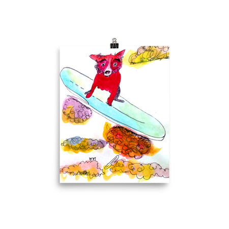 Red Dog Flying Art Print
