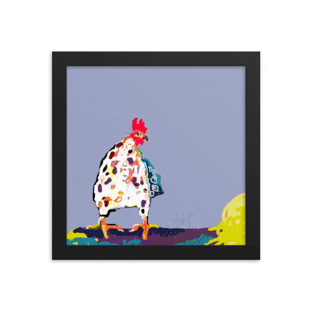 Periwinkle Chicken Framed Art Print