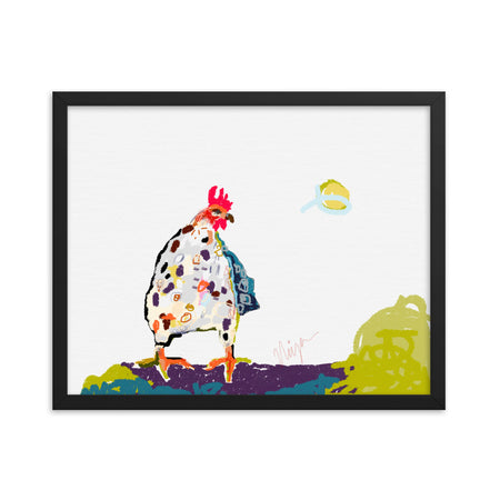 White Chicken Framed Art Print