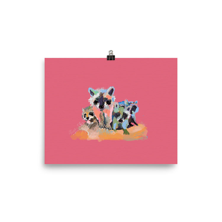 Rose Raccoon Art Print