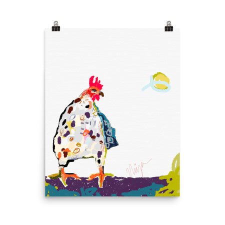 White Chicken Art Print