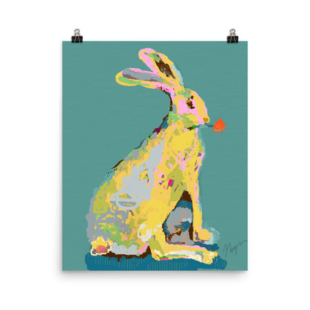 Pine Green Jack Rabbit Art Print