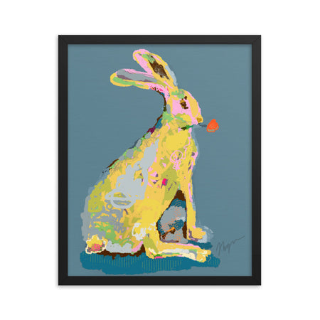 Slate Jack Rabbit Framed Art Print