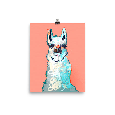 Peach and Turquoise Llama Art Print
