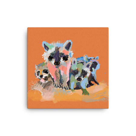 Rust Raccoons Canvas