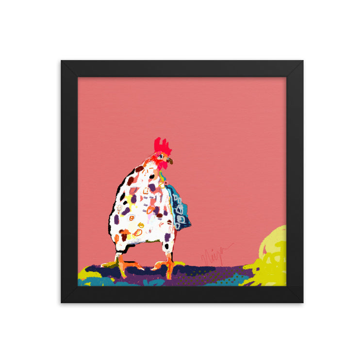 Red Chicken Framed Art Print
