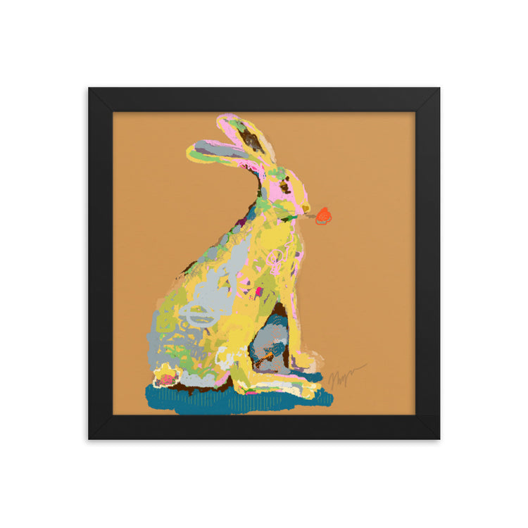 Ochre Jack Rabbit Framed Art Print