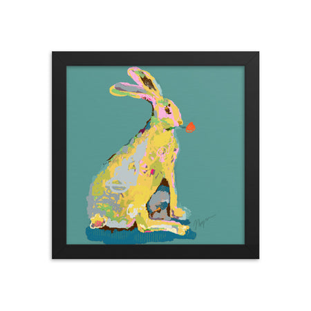 Pine Green Jack Rabbit Framed Art Print