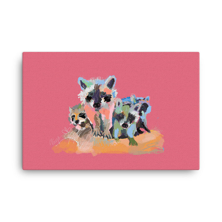 Rose Raccoons Canvas