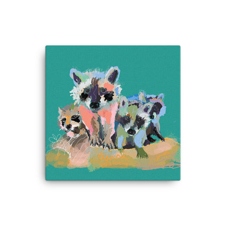 Teal Raccoon Canvas