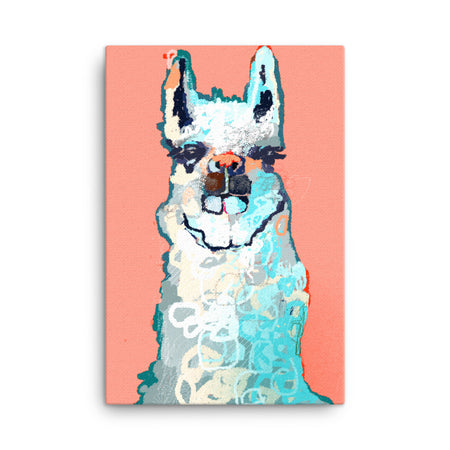 Llama Peach and Turquoise Modern Art Canvas