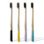 SMILOH - Lot de 4 Brosses à dents en bambou colorées - Poils souples