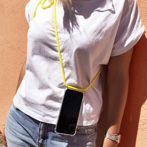 Cordon collier de portable cordon jaune fluo